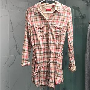 Esprit plaid button down shirt dress